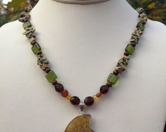 Beaded Dalmation Jasper necklace with touch of Amber