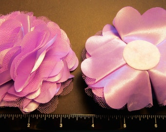 "1 Each 3"" Satin and Tulle Pretty & Fluffy Flower - Choice of Color - Hair Bow Embellishment"