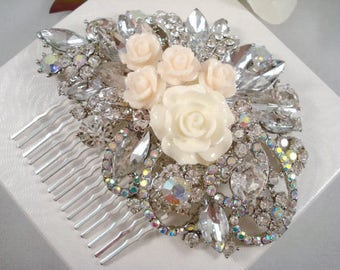 Rose Rhinestone Silver Hair Comb Jeweled Hair Piece