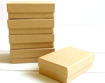 100 - 3 1/8 x 2 1/8 x 1 inch Brown Kraft Cotton Filled Jewelry Boxes-jewelry packaging,kraft jewelry boxes,brown kraft boxes, wedding favors
