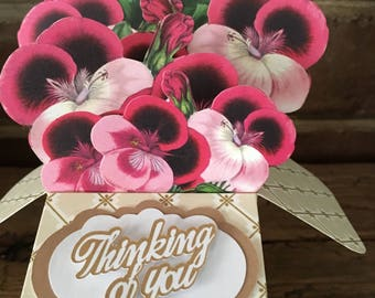 All Occasion Card, Unique 3d Box Card, Floral Pop-up Card, Handmade Greeting Card, Flower Bouquets, Spring Pansies