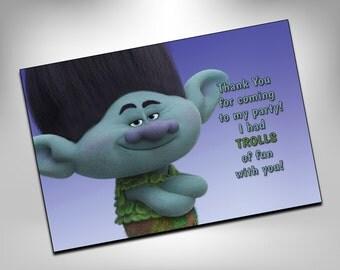 Trolls, Trolls thank you card, Trolls party, Trolls birthday, Trolls thank you note, Trolls printable, Trolls favors, Trolls printable
