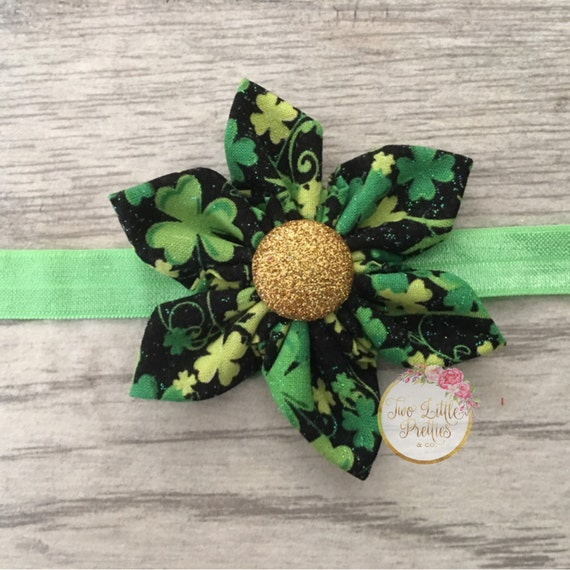 Large St Patricks Day fabric flower headband | baby girl | hand sewn