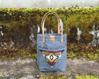 Madison - waxed canvas, denim & wool Tote