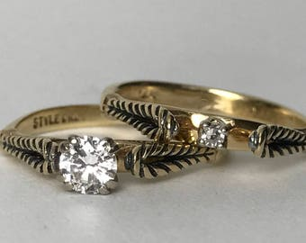 Vintage Diamond Engagement Ring. Vintage Wedding Band. StyleCrest Wedding Ring Set. 14K Yellow Gold. Unique Engagement Ring. Estate Jewelry.