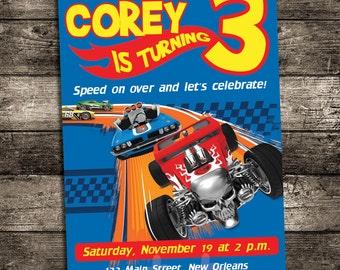 Hot wheels racing birthday invitation