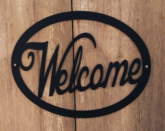 Powder Coated Metal Hanging Welcome Sign