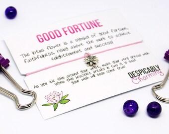 Good fortune Wish Bracelet - Yoga - Friendship Bracelet - Yoga bracelet - Lotus - Yoga card - Yoga Gift - Gift for her - Flower bracelet