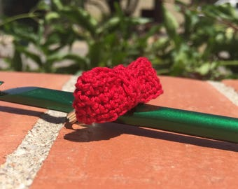 Red Crochet Bowtie Statement Ring on Adjustable Ring