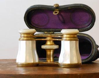 Antique LeMaire Paris Opera Glasses w/ Leather Case