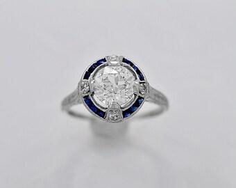 Antique Engagement Ring 1.05ct. Diamond, Sapphire & Platinum Deco - J35998