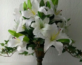 Casablanca Lily silk flower arrangement
