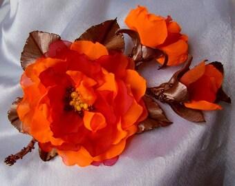 Wedding hair/dress accessories, flower clip and pin, floral hairpiece, bridal hair accessory, orange flower hair clip, 100% handmade.