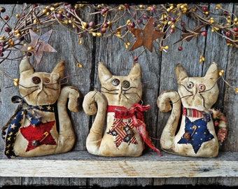 Set of 3 - Primitive Kitten Cat Folk Art Dolls, Patriotic Americana Decor, Summer Shelf Sitter, OFG FAAP