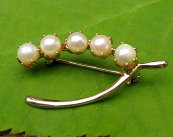 Vintage Pearl Brooch Gold Tone Wishbone Nearly Round Genuine Freshwater Pearls for Good Luck