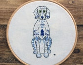 Embroidery kit, weimaraner, hand embroidery, sewing kit, embroidery designs, dog, sewing gift, embroidery pattern, embroidery hoop art, cute