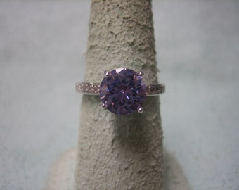 Purple CZ and Colorless CZ Ring Size 6 1/2