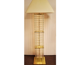 Mid-Century Modern Brass and Glass Rod Floor Lamp by Sciolari for Lightolier