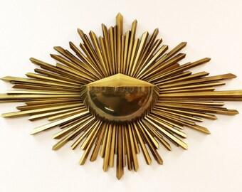 Mid Century Modern Syroco Wood Brass Gold Starburst Hanging Wall Art Planter