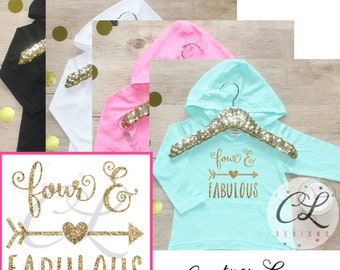Birthday Girl Shirt / Four and Fabulous Clothes 4 Year Old Outfit Fourth Birthday Shirt 4th Birthday Girl Outfit Hoodie Birthday Shirt 181