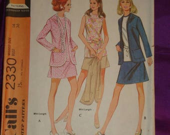 70s Vintage Cardigan Jacket w Shaped Front A Line Skirt 2 Vws n Sleeveless Blouse COMPLETE McCalls Pattern 2330 Bust 36 Inch 92 Metric EASY