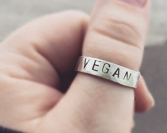 Handmade Sterling Silver VEGAN Ring - Any Size