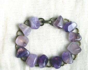 Vintage Amethyst gemstone bracelet, gemstone jewellery, vintage bracelet, vintage jewellery, Amethyst bracelet, purple stones, 8 inches long