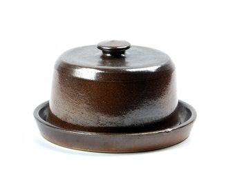 Vintage cheese dome France stoneware cheese plate with cover dark brown plate with lid