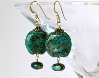 African Turquoise Kazuri African Clay Earrings Green Coin Shape Bold Statement 14K Gold Fill Earwires DE546