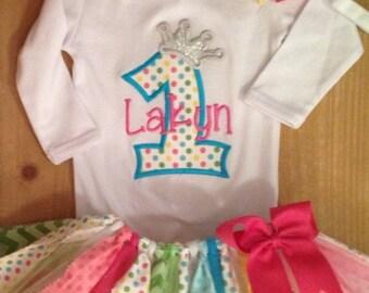 Polka Dot Birthday Princess Scrap Fabric Tutu Outfit