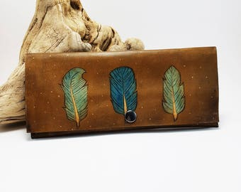Women's leather wallet leather feather wallet bohemian wallet gift for her