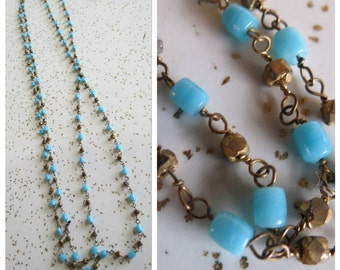 "Vintage Long 25.5"" Gold Tone and Tiny Aqua Blue Beaded Necklace - Boho Style - Great Layering Necklace"