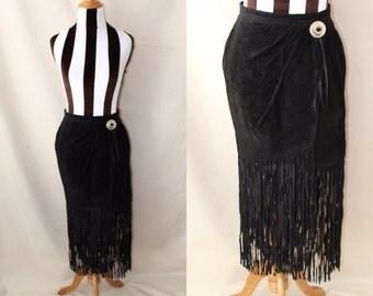 Suede fringe skirt | Etsy