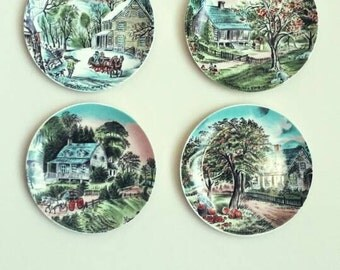 Vintage Currier And Ives Porcelain Four Seasons Plates Wall Hangings Mid Century Wall Art Japan FREE SHIPPING
