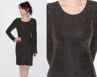 Vintage 1980's Re-Made Black GLITTER Gold Patterned BODY-CON Long Sleeves Knee Length Evening Dress Size Small