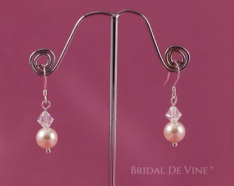 Bridal  Pearl and Crystal Drop Earrings. Bridesmaids Gift White Ivory with CRYSTALLIZED™ - Swarovski Elements