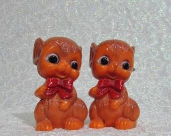 Mice Salt Pepper Shakers, Vintage Mice Shakers Hard Plastic, CUTE