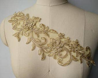 1 Pair Luxury Lace Appliques 3D Gold Exquisite Lace Applique For Wedding Dress Grown Bridal Veil Bodice