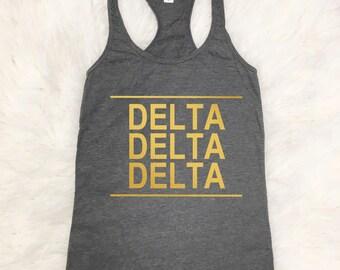 Delta Delta Delta Tank Top | Metallic Gold | Tshirt | Tee | Tri Delta