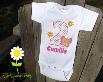 Personalized Birthday Shirt for Girls - Butterfly Birthday Outfit - Birthday Personalized Bodysuit or T-Shirt - Custom Baby Girl One Piece