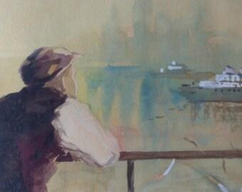 Antique Original Impressionist Painting Coastal New York Landscape Nautical Boat