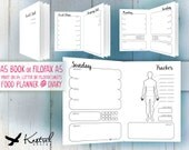 Printable Diet Planner & Diary - A5 size 14.8cm x 21cm - Kestrel Design DIY immediate download - Filofax or booklet - Resolution lose weight