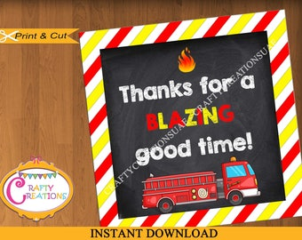 INSTANT DOWNLOAD - Fire Truck - Firefighter - Favor Tags - Sticker - Party Tags -Thank You Tags - Gift Tags - Birthday - Printable-CraftyUAE