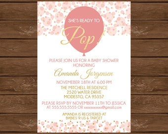 She's Ready to Pop! Baby Shower Invite, Ready to Pop Baby Shower Invitation, Printable Invitation, Pink and Gold Baby Shower, 017