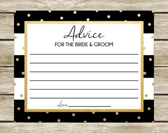 Advice Cards, Printable Advice Cards, Bridal Shower Advice Cards, Instant Download, Black and White, Black White and Gold, 003