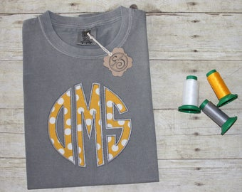Mustard polka Front and Center SHORT SLEEVE Comfort Colors