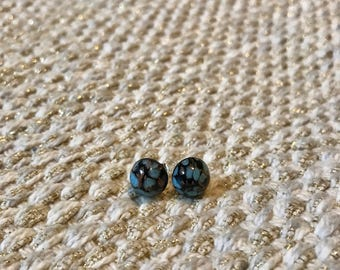 Blue/Black and Gold Czech Glass Stud Earrings