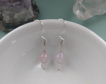 Rose quartz beaded earrings.