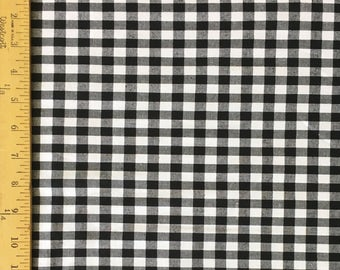 "Sale - Fabric Finders -Brushed Cotton Black and White 1/2"" Gingham Check - 60"" wide - 100% cotton"