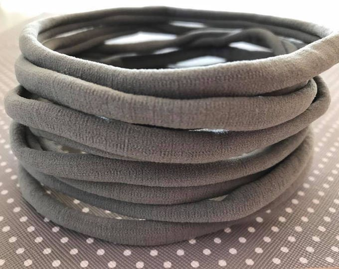 10 Pieces NEW Grey Nylon Headbands 8mm One Size Fits All 30-34cm Non Dent Bulk Nylon Headbands - NEW GRAY